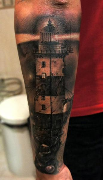 Arm Realistic Lighthouse Tattoo by Fredy Tattoo