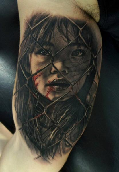 Arm Portrait Children Blood Tattoo by Fredy Tattoo