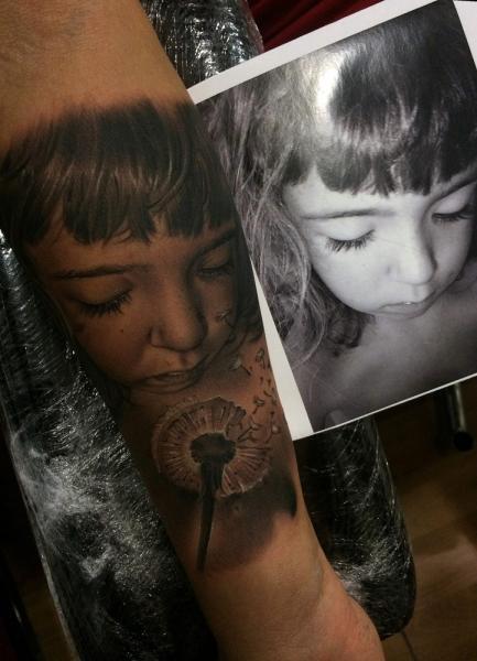 Arm Portrait Realistic Children Tattoo by Fredy Tattoo