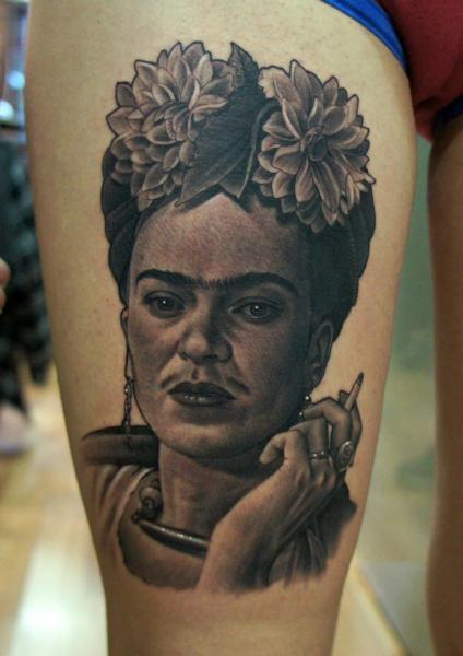 Arm Portrait Realistic Frida Kahlo Tattoo by Fredy Tattoo