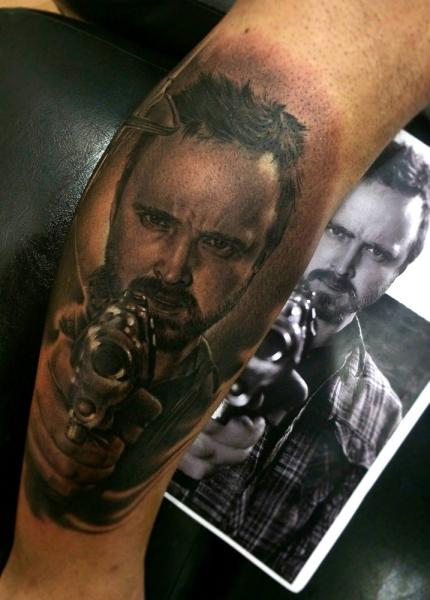Arm Portrait Realistic Gun Jesse Pinkman Tattoo by Fredy Tattoo