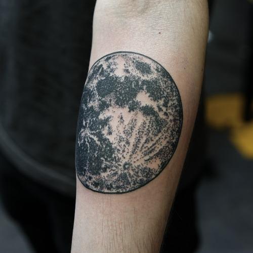 Arm Moon Tattoo by Philip Yarnell