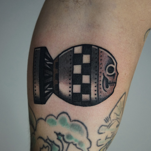 Arm Old School Bomb Tattoo by Philip Yarnell