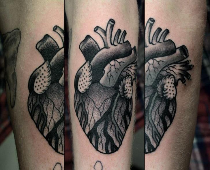 Arm Old School Heart Tattoo by Philip Yarnell