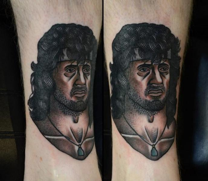 Arm Portrait Old School Sylvester Stallone Tattoo by Philip Yarnell