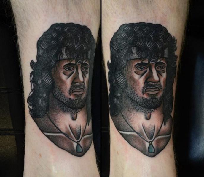 Arm Porträt Old School Sylvester Stallone Tattoo von Philip Yarnell
