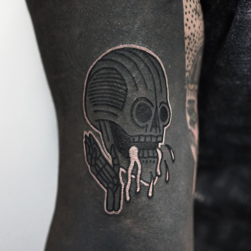 Arm Skull Tattoo by Philip Yarnell