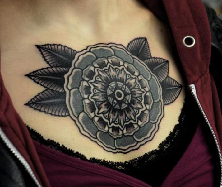 Old School Flower Geometric Breast Tattoo by Philip Yarnell