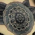 Old School Flower Geometric Breast tattoo by Philip Yarnell
