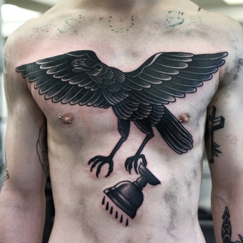 Chest Old School Eagle Cup Tattoo by Philip Yarnell