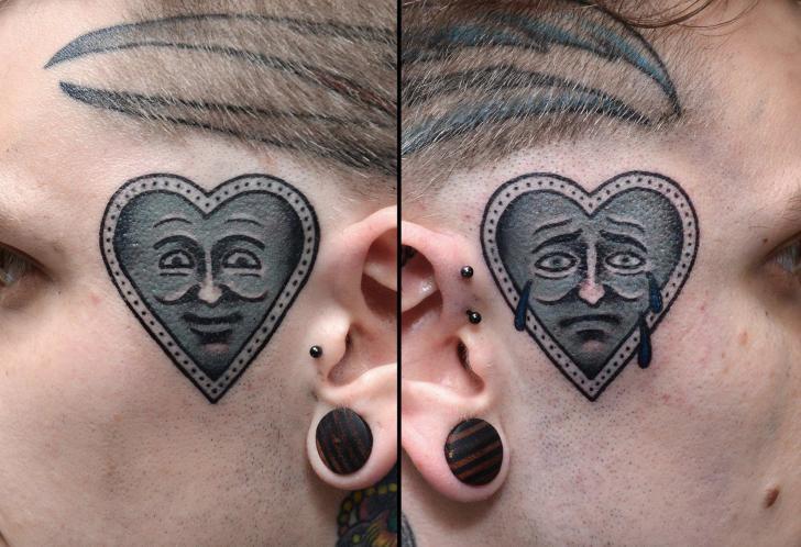 Tatuaje Old School Corazon Cara por Philip Yarnell