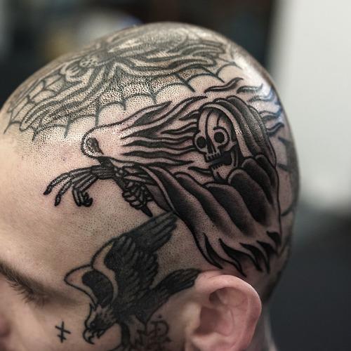 Old School Head Death Tattoo by Philip Yarnell