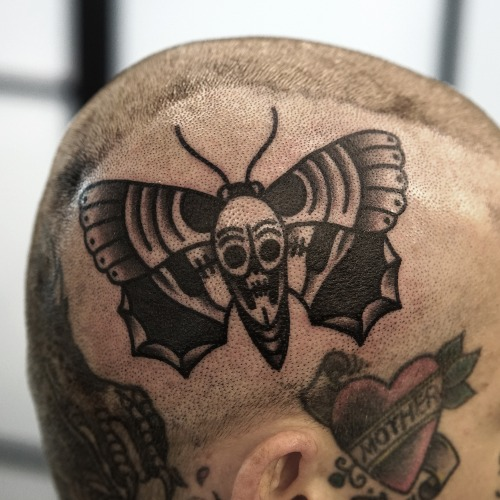 Old School Head Moth Tattoo by Philip Yarnell