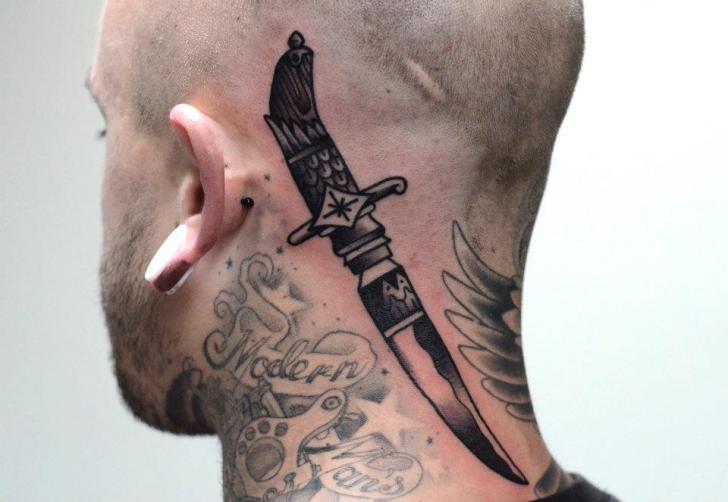 Old School Head Neck Dagger Tattoo by Philip Yarnell