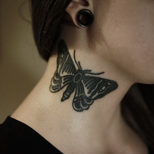 Old School Butterfly Neck Tattoo by Philip Yarnell