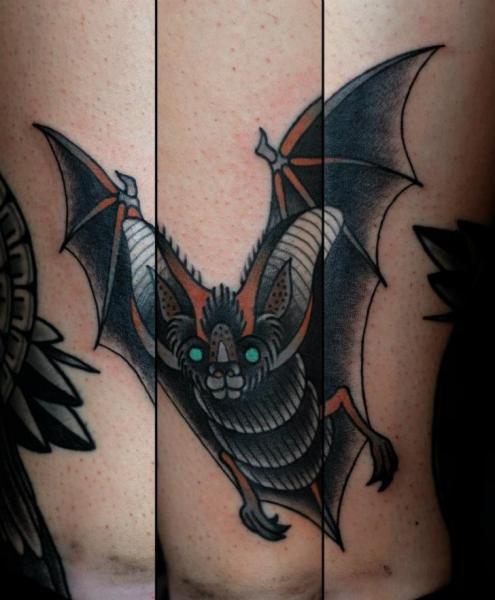 Old School Bat Tattoo by Philip Yarnell