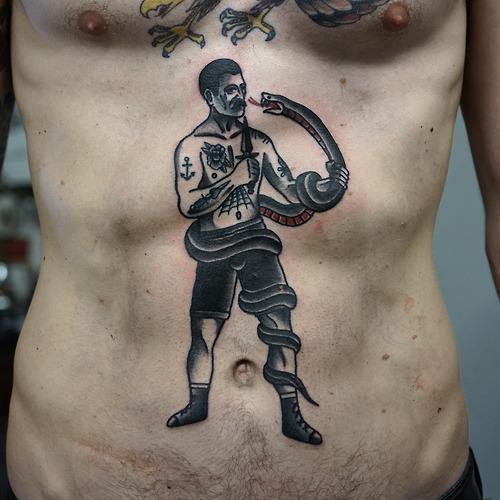 Schlangen Old School Bauch Tattoo von Philip Yarnell