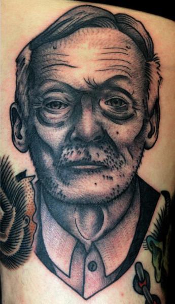 Shoulder Portrait Old School Tattoo by Philip Yarnell