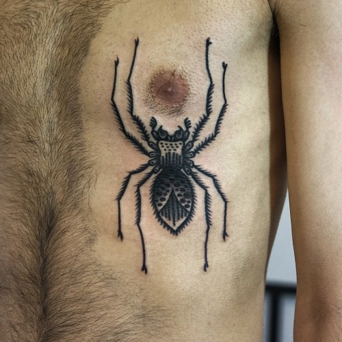 Old School Side Spider Tattoo by Philip Yarnell