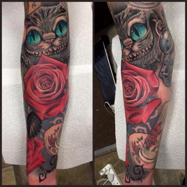 Tatuaggio Braccio Fantasy Fiore Gatto di Pete the Thief