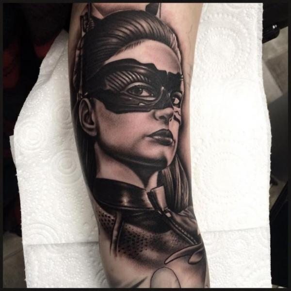 Arm Portrait Catwoman Tattoo by Pete the Thief