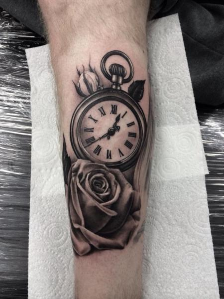 Arm Realistic Clock Flower Tattoo by Pete the Thief