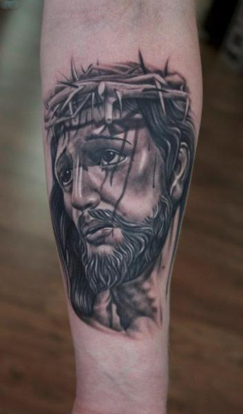 Arm Jesus Religious Tattoo by Pete the Thief