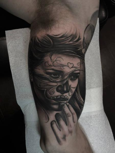Arm Mexican Skull Women Tattoo by Pete the Thief