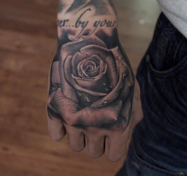 Realistic Flower Hand Rose Tattoo by Pete the Thief