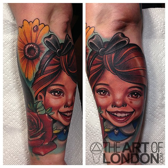 Arm Portrait Flower Tattoo by The Art of London