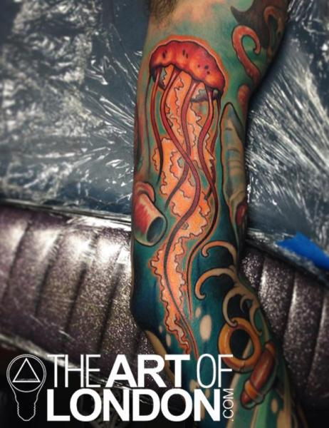 Arm Sea Jellyfish Tattoo by The Art of London