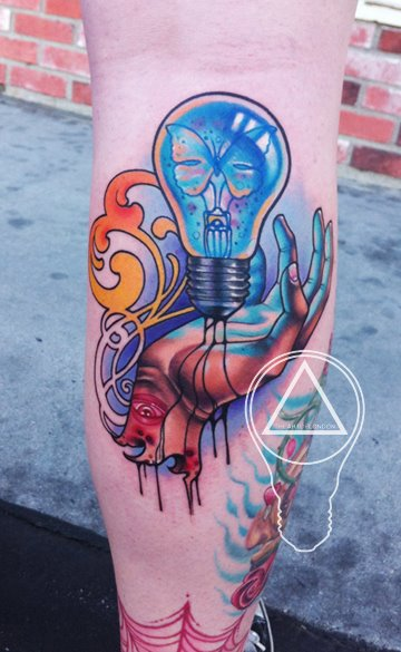 Calf Lamp Bulb Tattoo by The Art of London