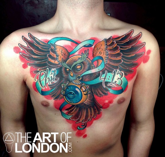 Chest Owl Belly Tattoo by The Art of London