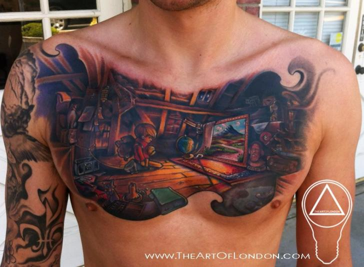 Fantasy Chest Tattoo by The Art of London