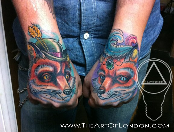 Hand Character Fox Tattoo by The Art of London
