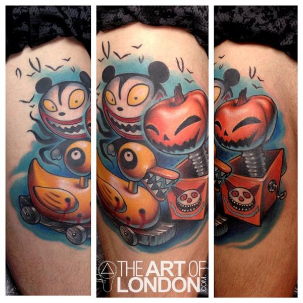 Fantasy Character Thigh Tattoo by The Art of London
