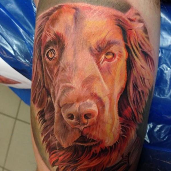 Arm Realistic Dog Tattoo by Electrographic Tattoo