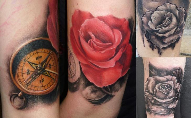 Arm Realistic Flower Compass Tattoo by Electrographic Tattoo