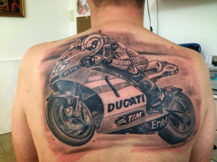 Realistic Back Motorcycle Tattoo by Electrographic Tattoo