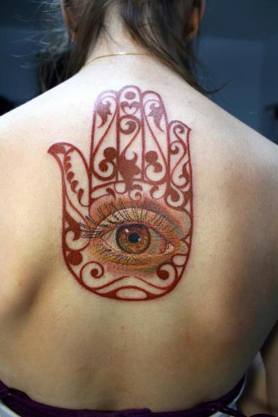 Back Eye Religious Tattoo by Electrographic Tattoo