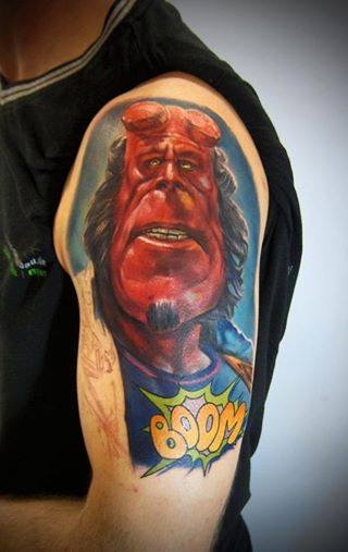 Shoulder Fantasy Character Hellboy Tattoo by Electrographic Tattoo