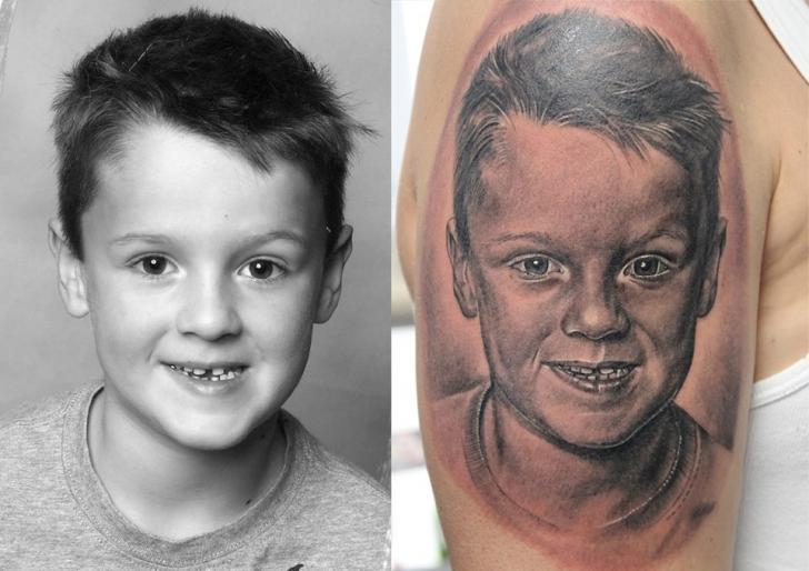 Shoulder Portrait Realistic Tattoo by Electrographic Tattoo