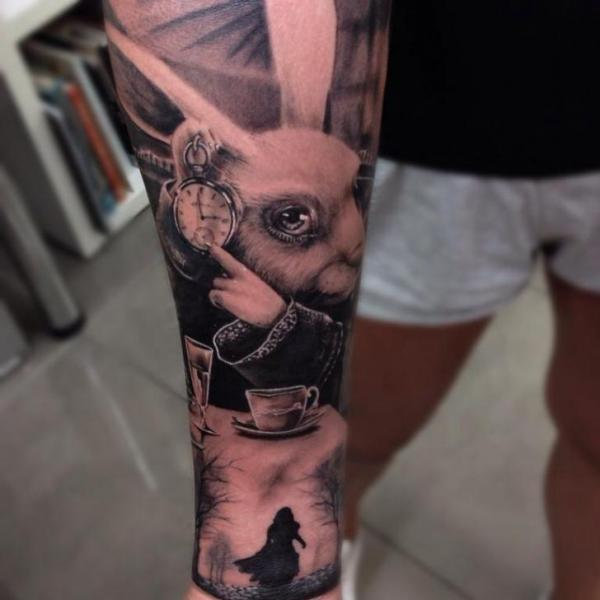 Arm Fantasy Rabbit Alice Wonderland Tattoo by Drew Apicture
