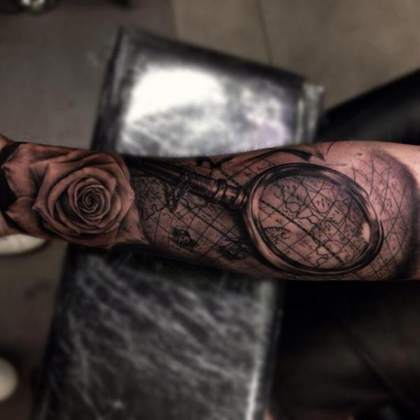 Arm Flower Map Lens Tattoo by Drew Apicture