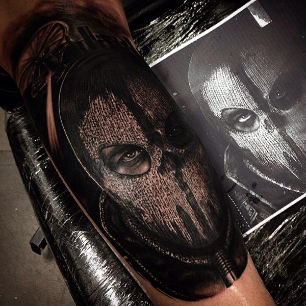 Arm Fantasy Mask Tattoo by Drew Apicture