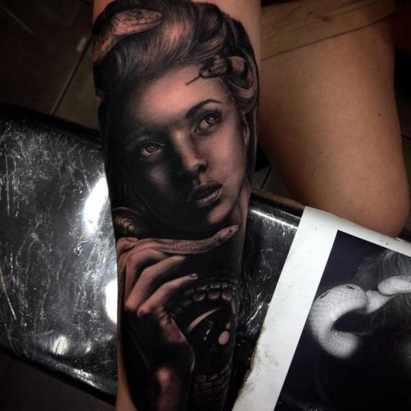 Arm Realistic Snake Women Tattoo by Drew Apicture