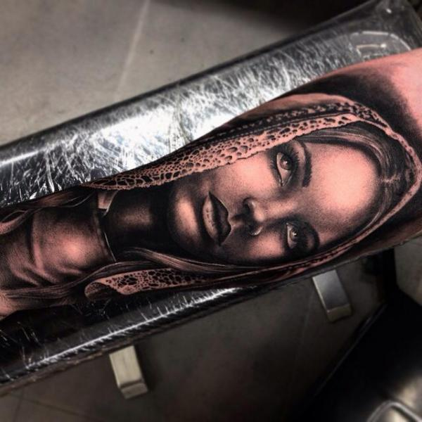 Arm Realistic Women Tattoo by Drew Apicture