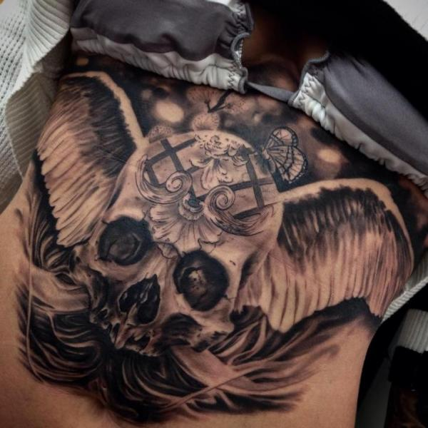 Skull Belly Wings Tattoo by Drew Apicture