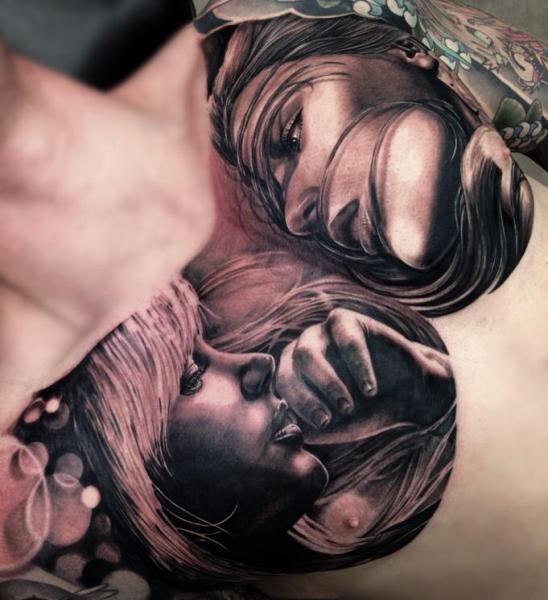 Porträt Realistische Brust Frauen Tattoo Von Drew Apicture