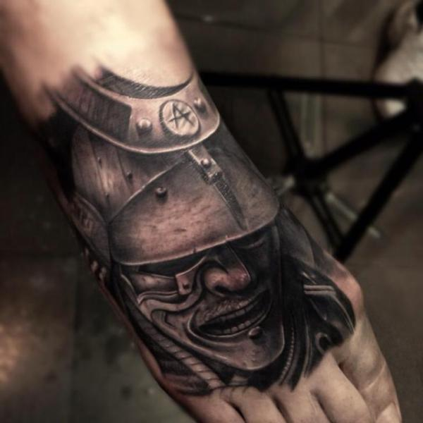 Realistic Foot Samurai Tattoo by Drew Apicture